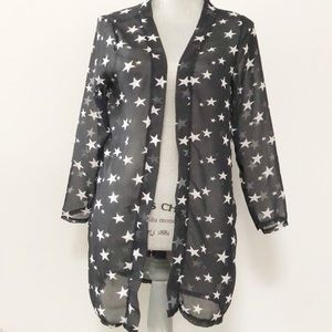 Sheer open kimono cover with stars